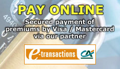 Pay Online : secured payment of premiums by Visa / Mastercard by our partner